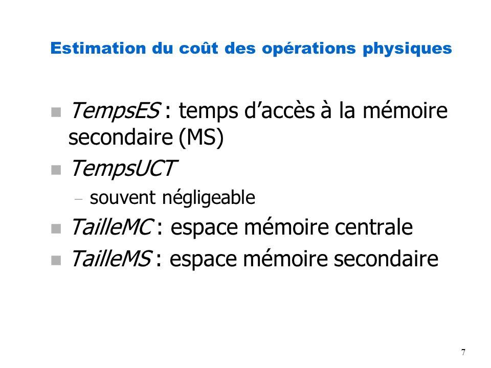 7 Estimation du coût des opérations physiques n TempsES : temps daccès à la mémoire secondaire (MS) n TempsUCT – souvent négligeable n TailleMC : espa