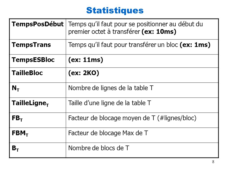 8 Statistiques TempsPosDébutTemps quil faut pour se positionner au début du premier octet à transférer (ex: 10ms) TempsTransTemps quil faut pour trans