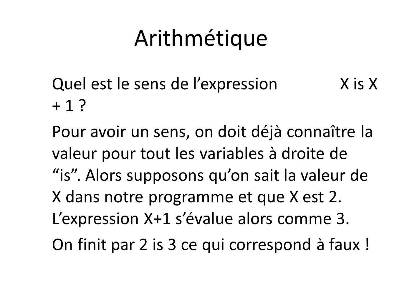 Arithmétique Quel est le sens de lexpression X is X + 1 ? Pour avoir un sens, on doit déjà connaître la valeur pour tout les variables à droite de is.