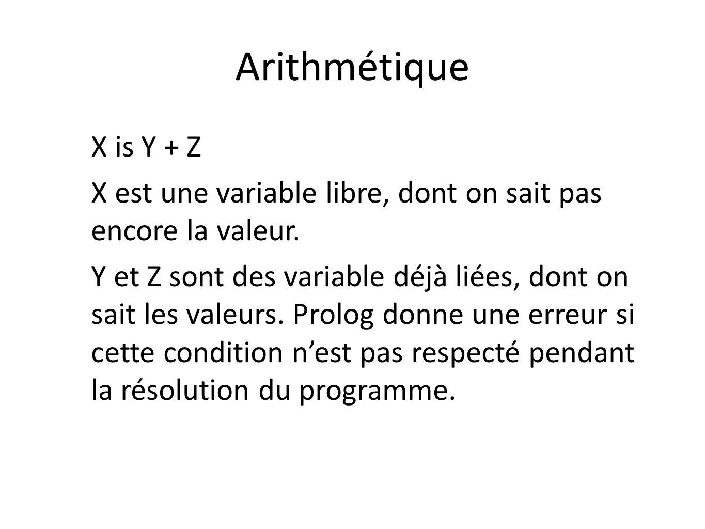 Arithmétique X is Y + Z X est une variable libre, dont on sait pas encore la valeur. Y et Z sont des variable déjà liées, dont on sait les valeurs. Pr
