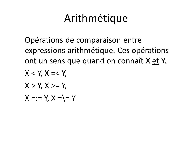 Arithmétique Opérations de comparaison entre expressions arithmétique. Ces opérations ont un sens que quand on connaît X et Y. X < Y, X =< Y, X > Y, X