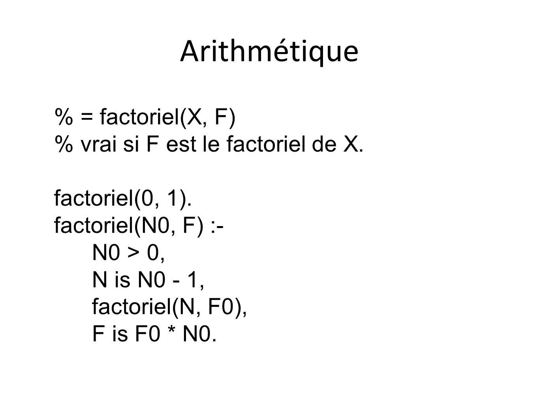 Arithmétique % = factoriel(X, F) % vrai si F est le factoriel de X. factoriel(0, 1). factoriel(N0, F) :- N0 > 0, N is N0 - 1, factoriel(N, F0), F is F