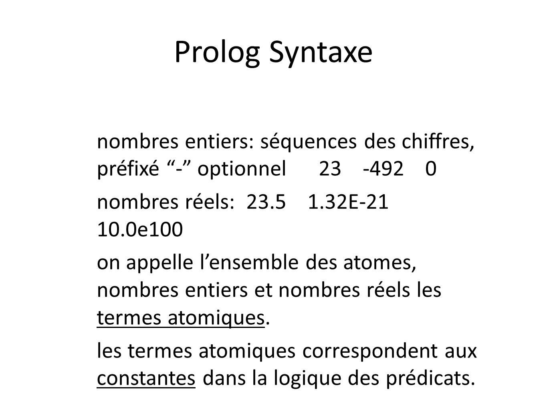 Prolog Syntaxe nombres entiers: séquences des chiffres, préfixé - optionnel 23 -492 0 nombres réels: 23.5 1.32E-21 10.0e100 on appelle lensemble des a