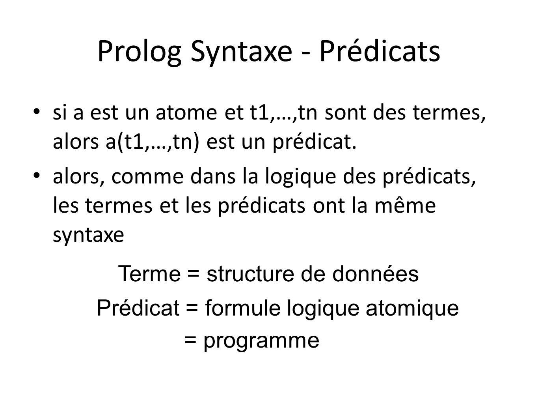 Prolog Syntaxe - Prédicats si a est un atome et t1,…,tn sont des termes, alors a(t1,…,tn) est un prédicat. alors, comme dans la logique des prédicats,