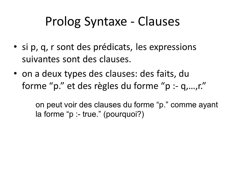 Prolog Syntaxe - Clauses si p, q, r sont des prédicats, les expressions suivantes sont des clauses. on a deux types des clauses: des faits, du forme p