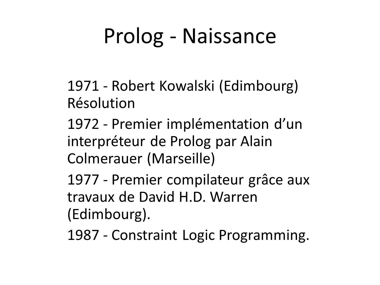 Prolog - Naissance 1971 - Robert Kowalski (Edimbourg) Résolution 1972 - Premier implémentation dun interpréteur de Prolog par Alain Colmerauer (Marsei