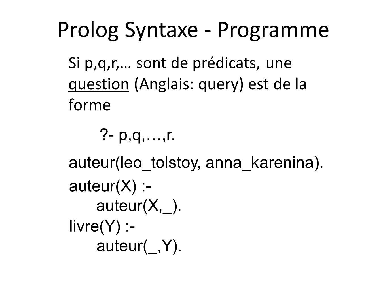 Prolog Syntaxe - Programme Si p,q,r,… sont de prédicats, une question (Anglais: query) est de la forme auteur(leo_tolstoy, anna_karenina). auteur(X) :