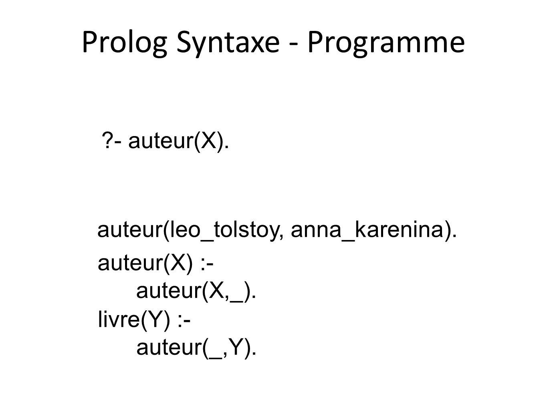 Prolog Syntaxe - Programme auteur(leo_tolstoy, anna_karenina). auteur(X) :- auteur(X,_). livre(Y) :- auteur(_,Y). ?- auteur(X).