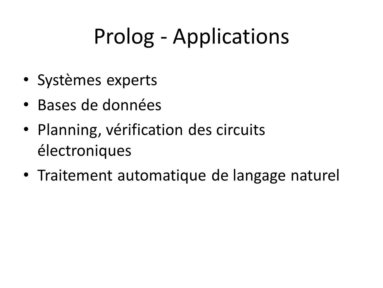 Prolog - Applications Systèmes experts Bases de données Planning, vérification des circuits électroniques Traitement automatique de langage naturel