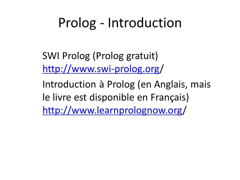 Prolog - Introduction SWI Prolog (Prolog gratuit) http://www.swi-prolog.org/ http://www.swi-prolog.org Introduction à Prolog (en Anglais, mais le livr