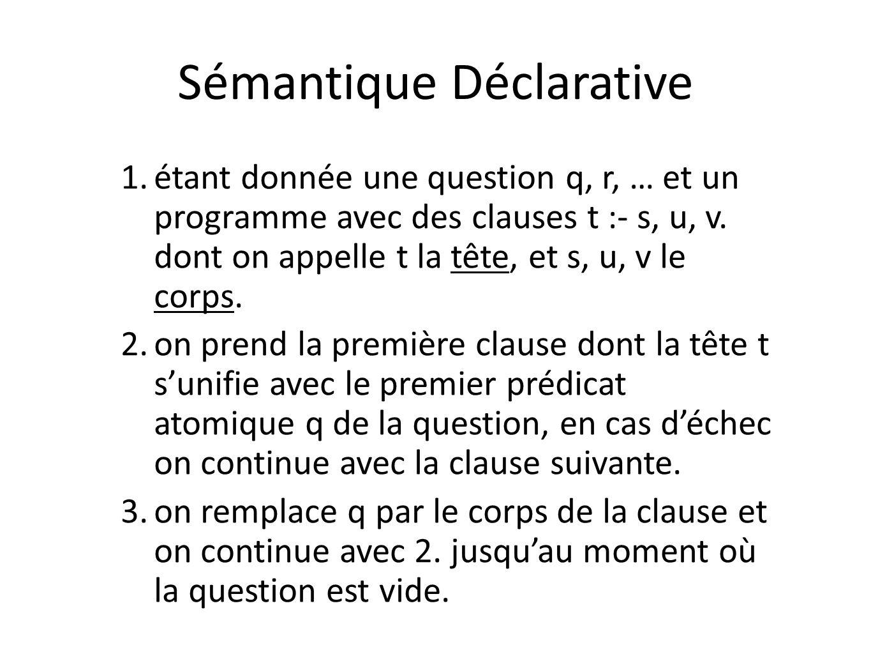 Sémantique Déclarative 1. étant donnée une question q, r, … et un programme avec des clauses t :- s, u, v. dont on appelle t la tête, et s, u, v le co