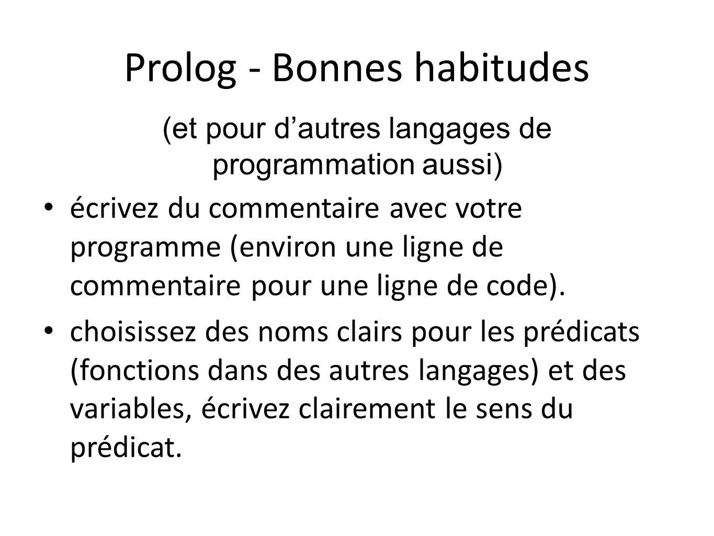 Prolog - Bonnes habitudes écrivez du commentaire avec votre programme (environ une ligne de commentaire pour une ligne de code). choisissez des noms c