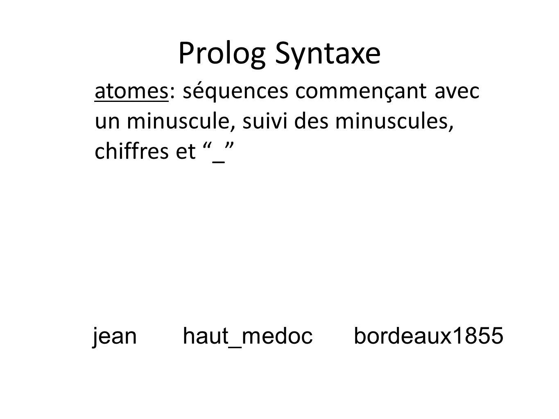 Prolog Syntaxe atomes: séquences commençant avec un minuscule, suivi des minuscules, chiffres et _ jeanhaut_medocbordeaux1855