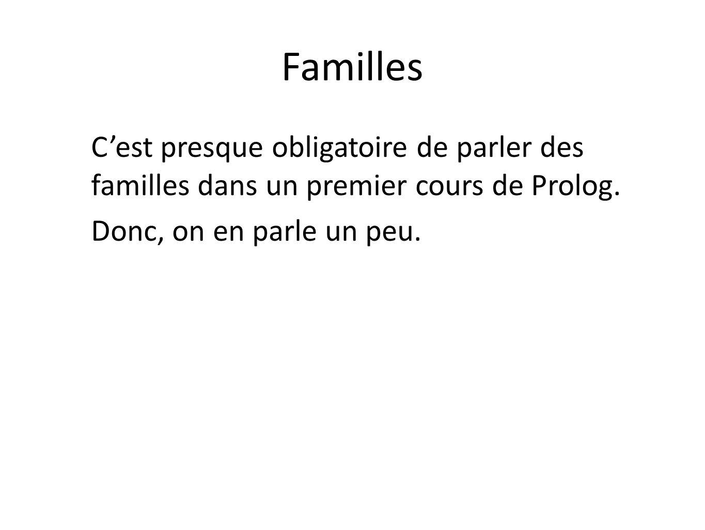 Familles Cest presque obligatoire de parler des familles dans un premier cours de Prolog. Donc, on en parle un peu.