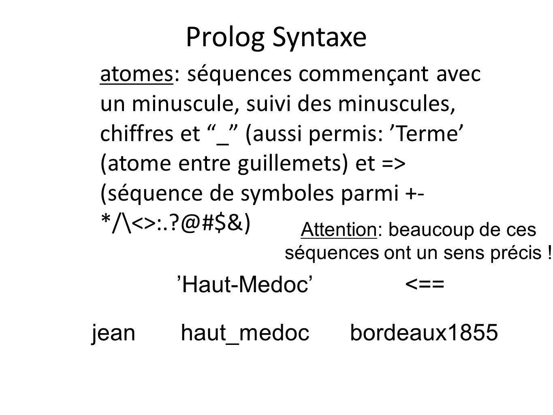 Prolog Syntaxe atomes: séquences commençant avec un minuscule, suivi des minuscules, chiffres et _ (aussi permis: Terme (atome entre guillemets) et =>