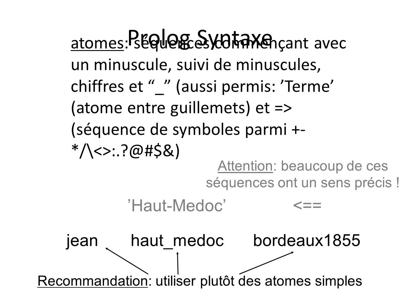 Prolog Syntaxe atomes: séquences commençant avec un minuscule, suivi de minuscules, chiffres et _ (aussi permis: Terme (atome entre guillemets) et =>