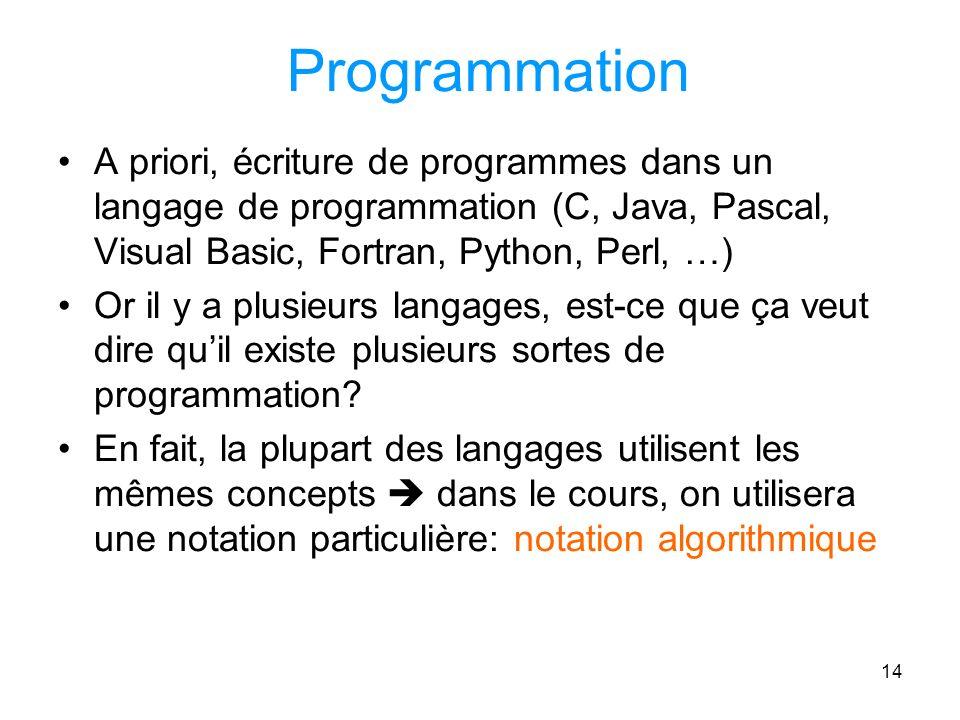 14 Programmation A priori, écriture de programmes dans un langage de programmation (C, Java, Pascal, Visual Basic, Fortran, Python, Perl, …) Or il y a plusieurs langages, est-ce que ça veut dire quil existe plusieurs sortes de programmation.