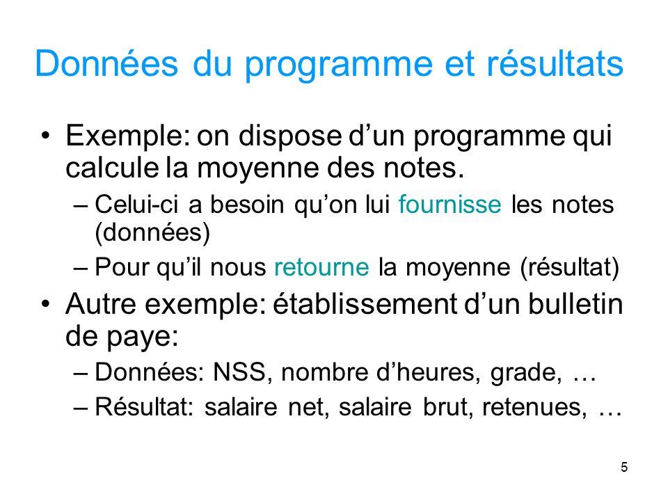 5 Données du programme et résultats Exemple: on dispose dun programme qui calcule la moyenne des notes.