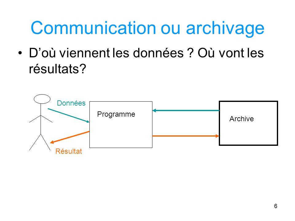6 Communication ou archivage Doù viennent les données .