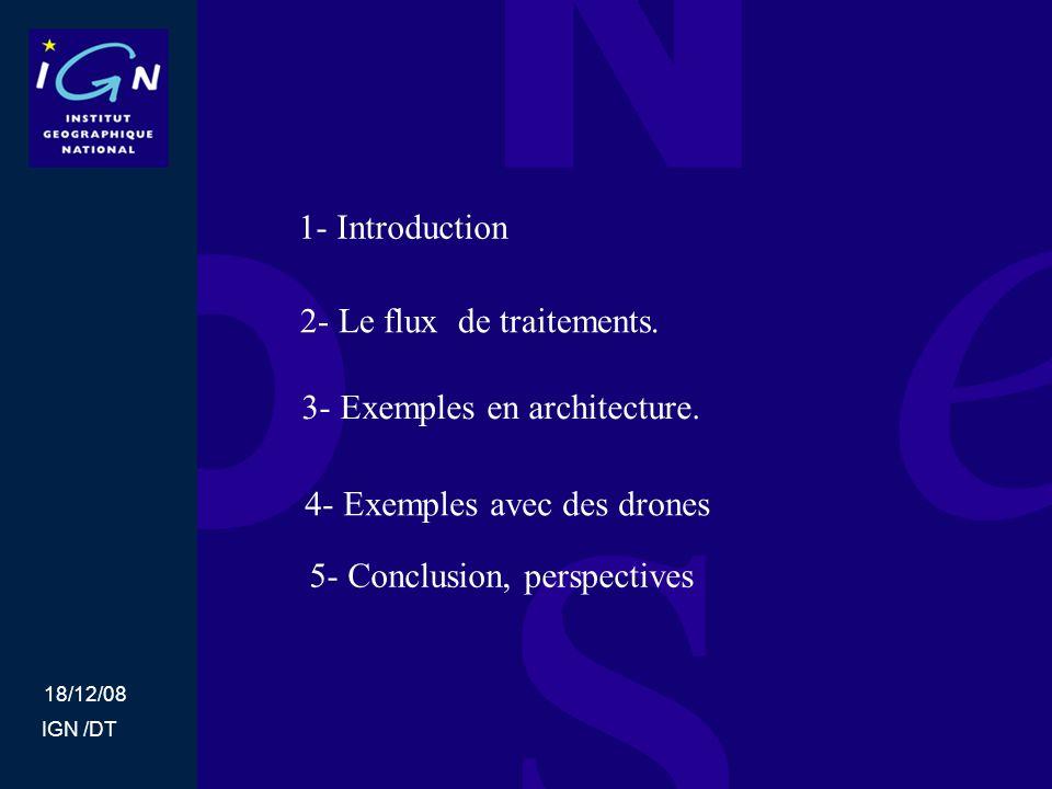 18/12/08 IGN /DT 1- Introduction Dans le cadre des recherches du MATIS liés à la géométrie des acquisitions.