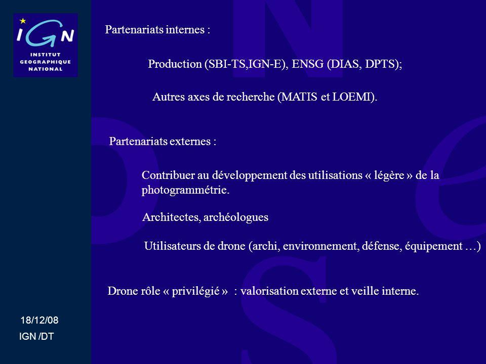 18/12/08 IGN /DT Partenariats internes : Partenariats externes : Production (SBI-TS,IGN-E), ENSG (DIAS, DPTS); Autres axes de recherche (MATIS et LOEM