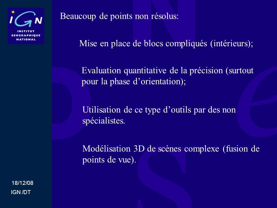 18/12/08 IGN /DT Beaucoup de points non résolus: Mise en place de blocs compliqués (intérieurs); Evaluation quantitative de la précision (surtout pour