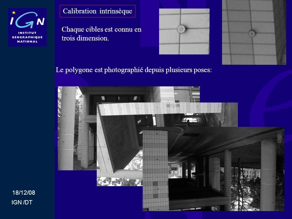 18/12/08 IGN /DT Calibration intrinsèque Chaque cibles est connu en trois dimension. Le polygone est photographié depuis plusieurs poses: