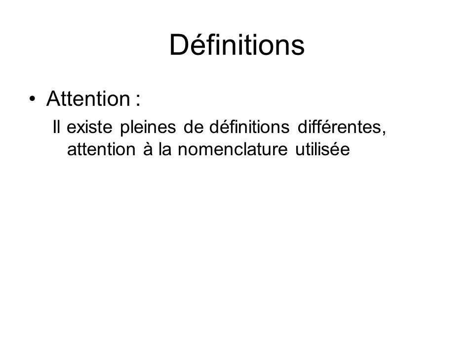 Définitions Attention : Il existe pleines de définitions différentes, attention à la nomenclature utilisée