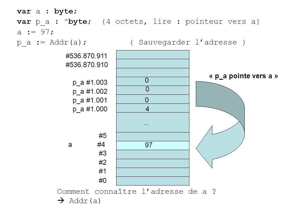var a : byte; var p_a : ^byte; {4 octets, lire : pointeur vers a} a := 97; p_a := Addr(a);{ Sauvegarder ladresse } #0 #1 #2 #3 a #4 #5... #536.870.910