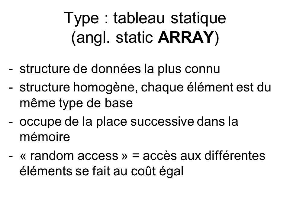 Type : tableau statique (angl.