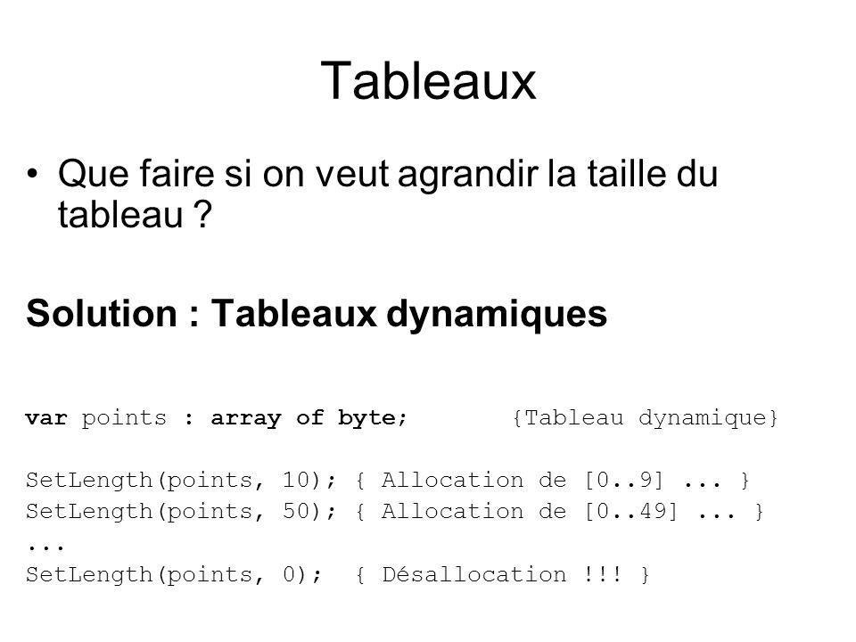Tableaux Que faire si on veut agrandir la taille du tableau ? Solution : Tableaux dynamiques var points : array of byte; {Tableau dynamique} SetLength