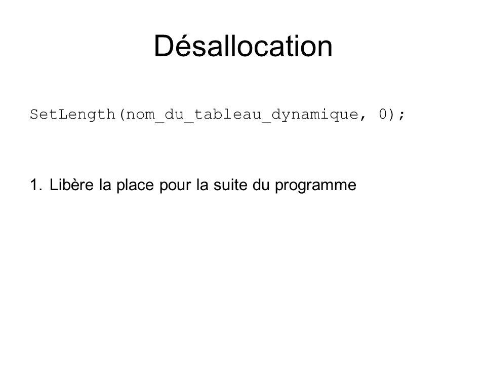 SetLength(nom_du_tableau_dynamique, 0); 1.Libère la place pour la suite du programme Désallocation