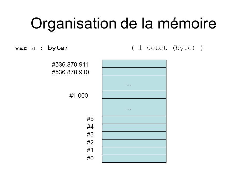 Organisation de la mémoire var a : byte; ( 1 octet (byte) ) #0 #1 #2 #3 #4 #5... #536.870.910 #536.870.911 #1.000...