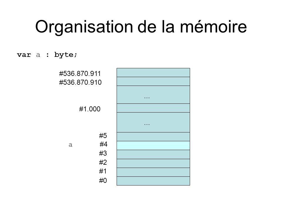 Organisation de la mémoire var a : byte; #0 #1 #2 #3 a #4 #5... #536.870.910 #536.870.911 #1.000...