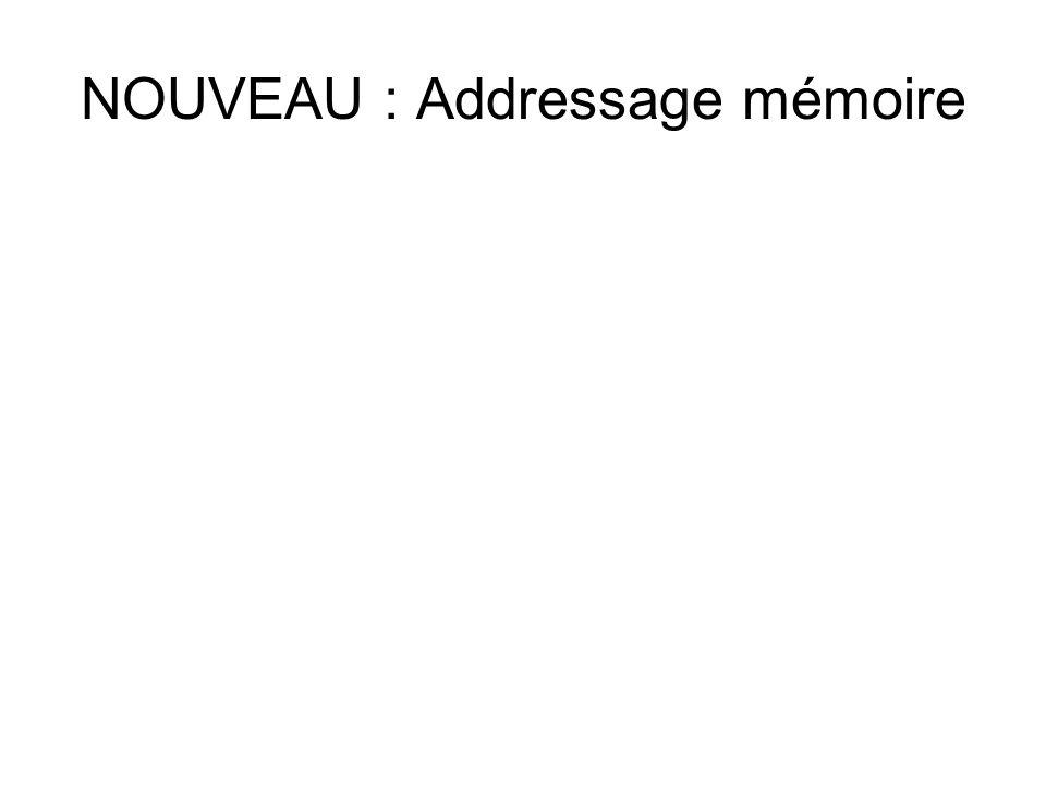 NOUVEAU : Addressage mémoire