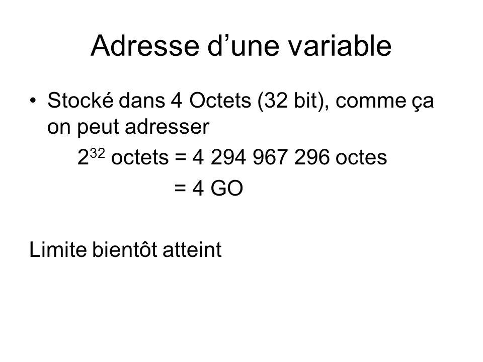 Adresse dune variable Stocké dans 4 Octets (32 bit), comme ça on peut adresser 2 32 octets = 4 294 967 296 octes = 4 GO Limite bientôt atteint
