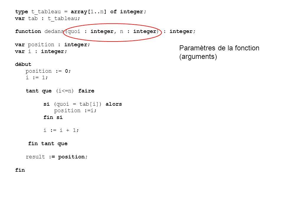 type t_tableau = array[1..n] of integer; var tab : t_tableau; function dedans(quoi : integer, n : integer) : integer; var position : integer; var i : integer; début position := 0; i := 1; tant que (i<=n) faire si (quoi = tab[i]) alors position :=i; fin si i := i + 1; fin tant que result := position; fin Paramètres de la fonction (arguments)