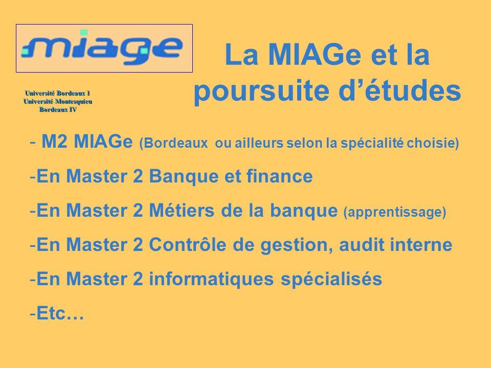Université Bordeaux 1 Université Montesquieu Bordeaux IV La MIAGe et la poursuite détudes - M2 MIAGe (Bordeaux ou ailleurs selon la spécialité choisie