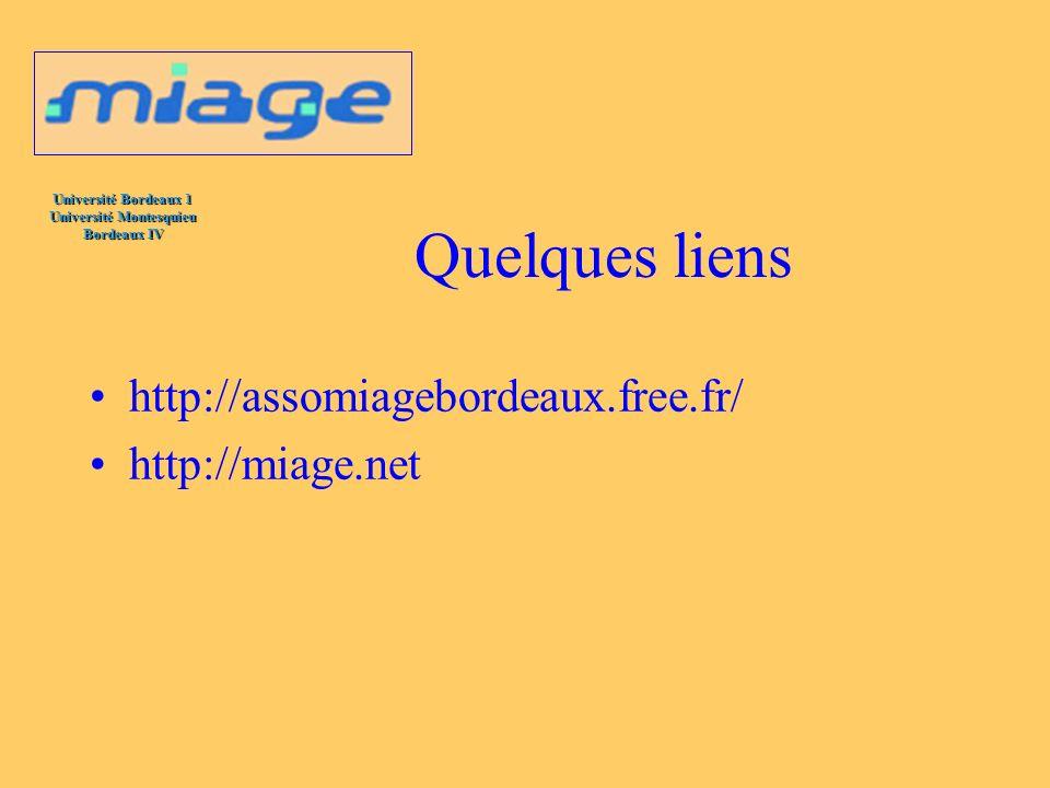 Université Bordeaux 1 Université Montesquieu Bordeaux IV Quelques liens http://assomiagebordeaux.free.fr/ http://miage.net