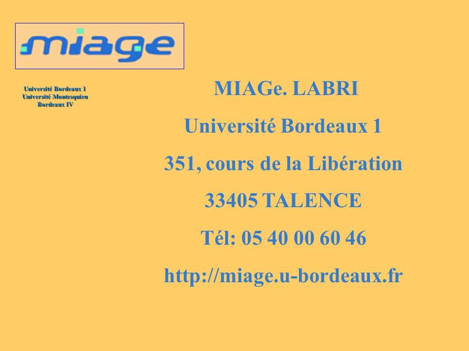 Université Bordeaux 1 Université Montesquieu Bordeaux IV MIAGe. LABRI Université Bordeaux 1 351, cours de la Libération 33405 TALENCE Tél: 05 40 00 60