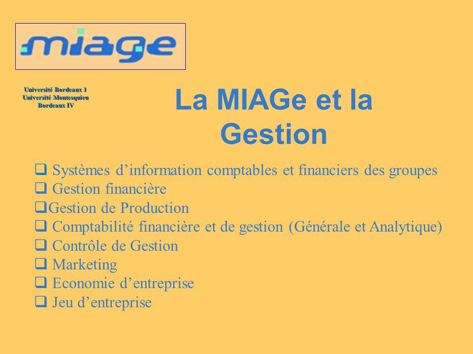 Université Bordeaux 1 Université Montesquieu Bordeaux IV La MIAGe et la Gestion Systèmes dinformation comptables et financiers des groupes Gestion fin