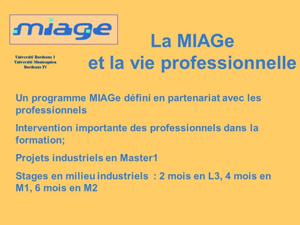Université Bordeaux 1 Université Montesquieu Bordeaux IV La MIAGe et ses partenaires Les partenaires de la MIAGe sont nombreux DISF, Services Financiers de la Poste, CIC, ATOS, Logica, ATOS HP, IBM, …..