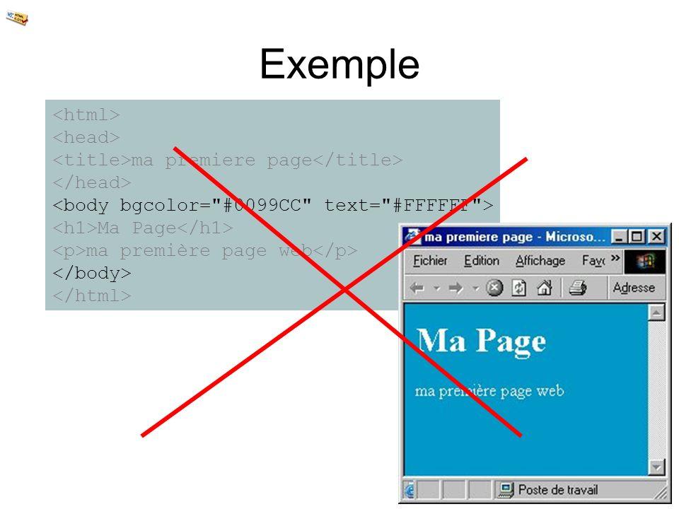 Exemple ma premiere page Ma Page ma première page web