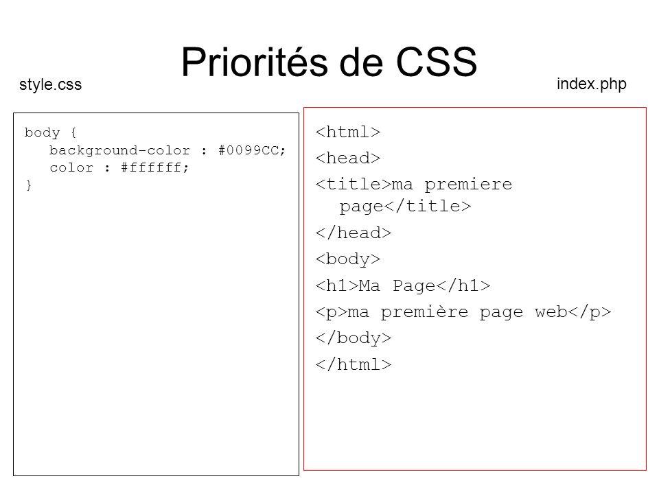Priorités de CSS body { background-color : #0099CC; color : #ffffff; } ma premiere page Ma Page ma première page web index.php style.css