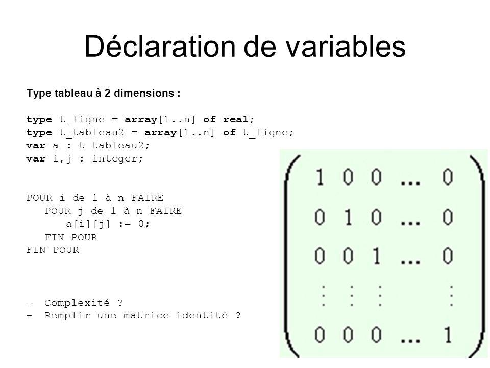 Type tableau à 2 dimensions : type t_ligne = array[1..n] of real; type t_tableau2 = array[1..n] of t_ligne; var a : t_tableau2; var i,j : integer; POUR i de 1 à n FAIRE POUR j de 1 à n FAIRE a[i][j] := 0; FIN POUR -Complexité .