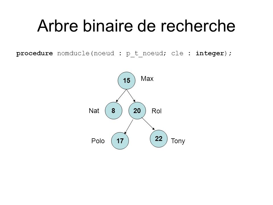 Arbre binaire de recherche procedure nomducle(noeud : p_t_noeud; cle : integer); 20 15 22 8 17 Max Nat Rol PoloTony