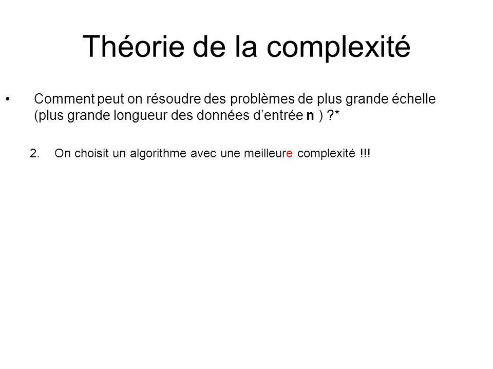 Théorie de la complexité Comment peut on résoudre des problèmes de plus grande échelle (plus grande longueur des données dentrée n ) ?* 2.On choisit un algorithme avec une meilleure complexité !!!