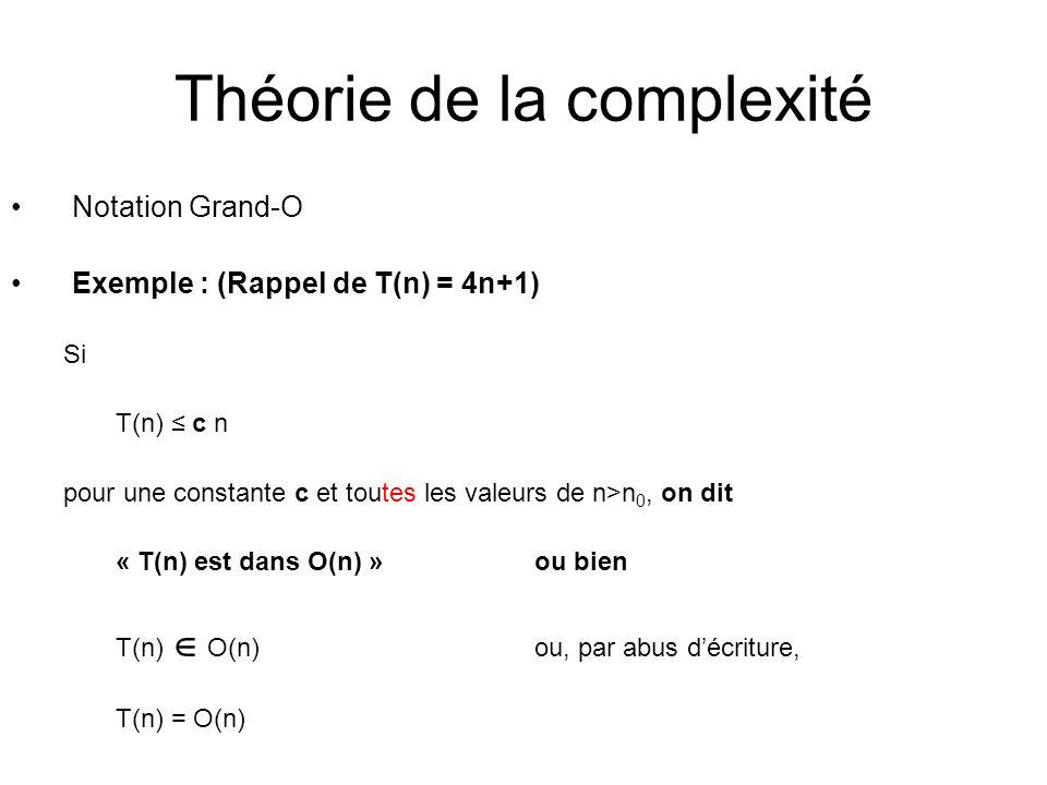 Théorie de la complexité Notation Grand-O Exemple : (Rappel de T(n) = 4n+1) Si T(n) c n pour une constante c et toutes les valeurs de n>n 0, on dit « T(n) est dans O(n) »ou bien T(n) O(n) ou, par abus décriture, T(n) = O(n)