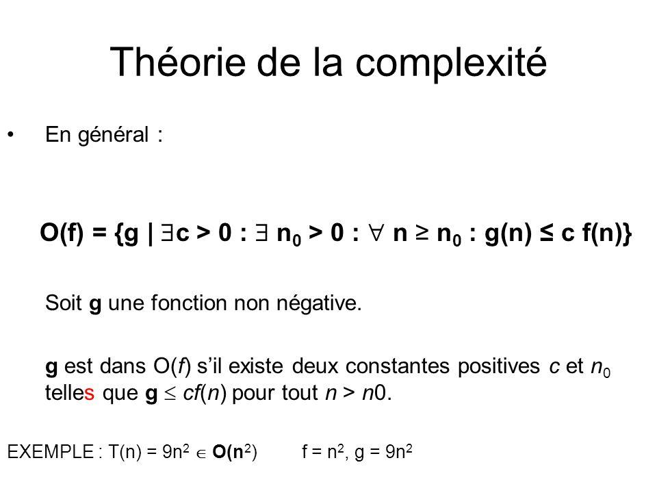 Théorie de la complexité En général : O(f) = {g | c > 0 : n 0 > 0 : n n 0 : g(n) c f(n)} Soit g une fonction non négative.