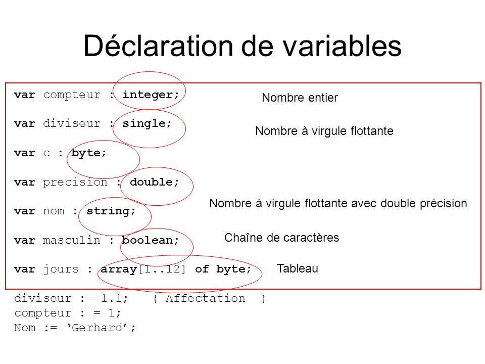 Déclaration de variables var compteur : integer; var diviseur : single; var c : byte; var precision : double; var nom : string; var masculin : boolean